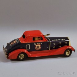 """Louis Marx Lithographed Tin and Pressed Steel Wind-up """"G-Man"""" Pursuit Car"""