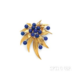 18kt Gold, Lapis, and Diamond Brooch
