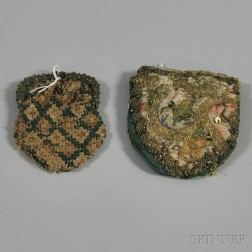 Two Embroidered and Crocheted Silk Coin Purses