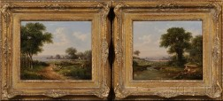Attributed to George Augustus Williams (British, 1814-1901)      Two Country Landscapes with Figures
