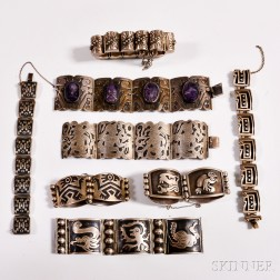 Eight Mexican Silver Bracelets
