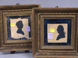 Pair of Giltwood Framed Silhouettes Depicting George and Martha Washington