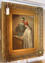 Two Similarly Framed Judaica-related Oils on Panel