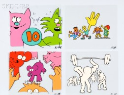 After Keith Haring (American, 1958-1990)      Approximately 80 Sesame St.   Animation Cels