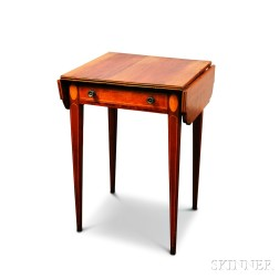 Federal-style Inlaid Cherry One-drawer Drop-leaf Worktable