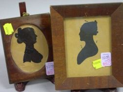 Two Framed Silhouettes of Ladies