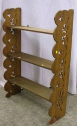 Late Victorian Ash Cut-out End Three-Tier Wall Shelf.