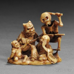 Ivory Netsuke of Dancing Demons