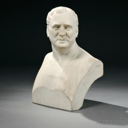 Thomas Dow Jones (American, 1811-1881)       White Marble Bust of a Man