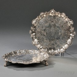 Two George IV Sterling Silver Salvers