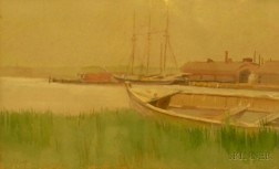 Attributed to Arianna (Arie E.) Kelley (American, d. 1923)      New England Harbor Landscape.