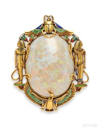 Egyptian Revival 14kt Gold, Opal, and Enamel Brooch, Marcus & Co.