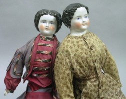 Two Large China Shoulder Head Dolls