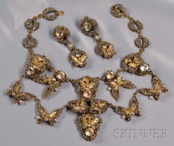 Rare and Impressive Prototype Festoon Necklace and Earpendants, Miriam Haskell