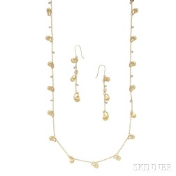 18kt Gold and Diamond Necklace and Earrings