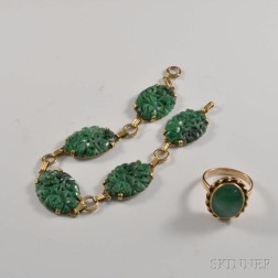14kt Gold and Jade Bracelet and Ring
