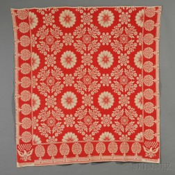 Two-color Woven Wool and Cotton Coverlet