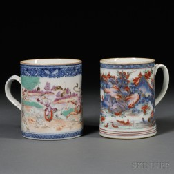 Large Chinese Export Cider Mug Decorated with a Hunt Scene and an Imari-decorated Mug