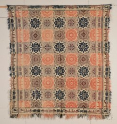 """Woven Wool and Cotton """"HEMFIELD RAILROAD"""" Coverlet"""