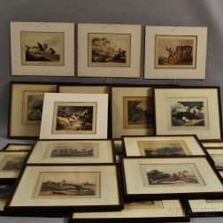 Sporting Prints, Hand-colored Aquatints, Seventeen Framed, Four Unframed.