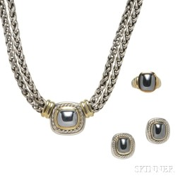 14kt Gold, Sterling Silver, and Hematite Suite, David Yurman