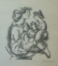 Unframed Lithograph Happy Mother   , by Chaim Gross (American