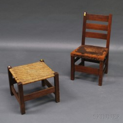 Arts & Crafts Oak Side Chair and Footstool