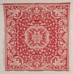 Patriotic Red and White Woven Wool and Cotton Coverlet