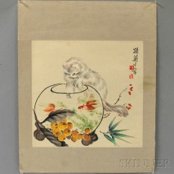 Painting Depicting a White Cat