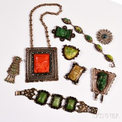 Nine Pieces of Mexican Silver Jewelry