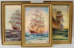 Three Framed Alexander Nelke (American/Estonian, 1894-1974) Oil on Canvas Ship's Portraits