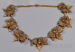 Rare Prototype Leaf and Butterfly Festoon Necklace, Miriam Haskell