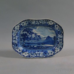 Blue and White Transfer-printed Staffordshire Platter
