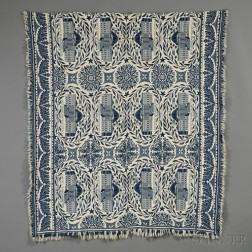 Woven Wool and Cotton Coverlet Depicting the United States Capitol Building