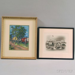 Two Works on Paper:      Simka Simkhovitch (Russian/American, 1893-1949), Road Into Town