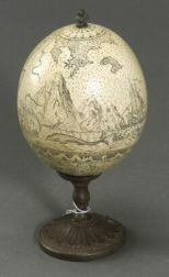 Scrimshaw Ostrich Egg on Stand