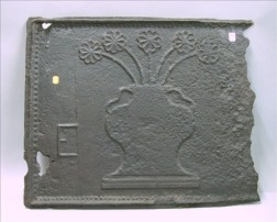18th Century Cast Iron Vase of Flowers Decorated Stove Plate.