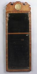 Queen Anne Walnut and Parcel Gilt Two Part Looking Glass