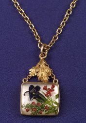 14kt Gold and Reverse Crystal Pendant Necklace