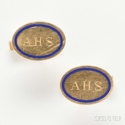 Tiffany & Co., 14kt Gold and Enamel Cuff Links