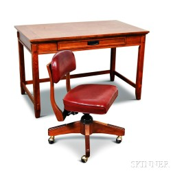 Contemporary Mission-style Oak Desk and Office Chair