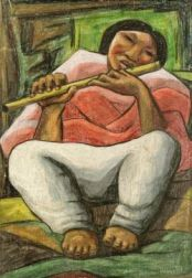 Raphael Moises (Mexican, 20th Century)  The Flute Player