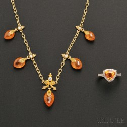 Two Pieces of Gold, Spessartite Garnet, and Diamond Jewelry