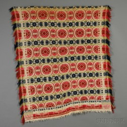 Four-color Woven Wool and Cotton Tied-beiderwand Coverlet with Railroad Car Border