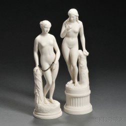 Two Parian Figures of Classical Maidens