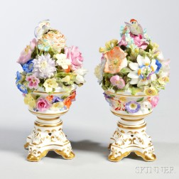 Pair of Derby Porcelain Floral Urns