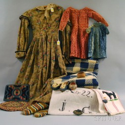 Group of Antique Clothing, Textiles, Toys, and Accessories