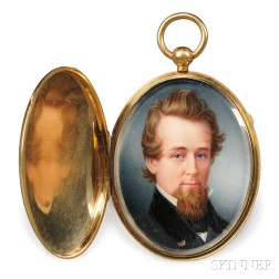 American School, Early 19th Century      Portrait Miniature of a Man with a Goatee.