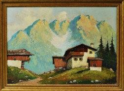 Continental School, 20th Century      Alpine Chalets in Summer