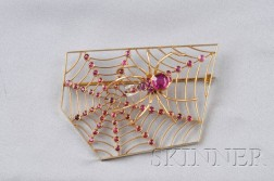 Unusual 18kt Gold and Ruby Spider Brooch